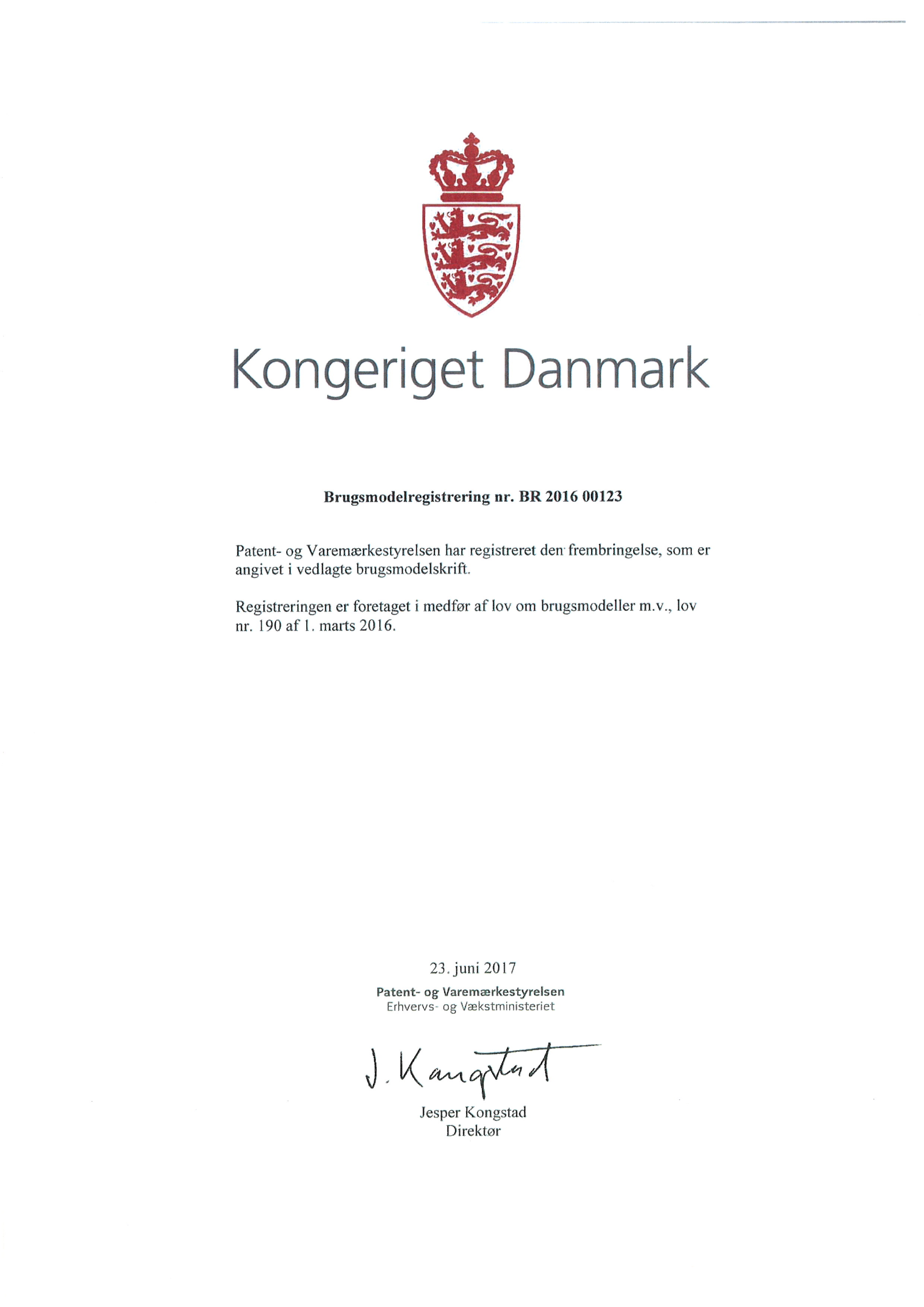 Brugsmodel Certifikat