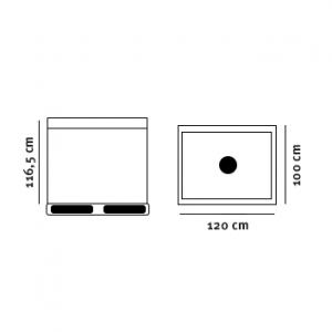 Dobbeltvægget plast palletank tegning med dimensioner