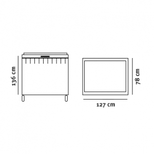 Minicontainer (770l) tegning med dimensioner
