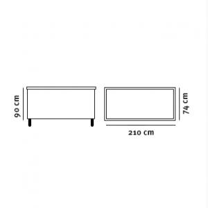 Lyskildecontainer tegning med dimensioner