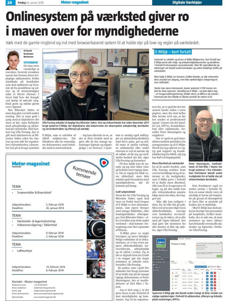 Artikel om E-Miljø: Onlinesystem på værksted giver ro i maven over for myndighederne